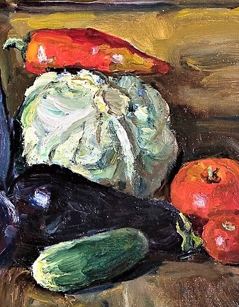 6046- Kozlov- Still Life with Eggplants detail