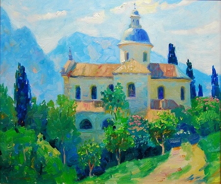 "Margarita Kolobova, ""Morning in Perchani""  23½'' x 27½'', 2012, Oil on Canvas, $2,250"